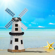 Solar Powered Light House Rotating LED Windmill Garden Decoration Ornament