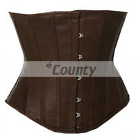 New Brown Leather Underbust Corset Full Steel Boned Spiral Basque Lacing Shaper