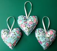3 x LARGE BLUE / PINK / WHITE FLORAL HANDMADE HANGING FABRIC HEARTS 4.5ins