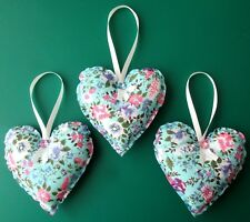 3 x LARGE BLUE PURPLE FLORAL HANDMADE SHABBY CHIC HANGING FABRIC HEARTS 4.5ins