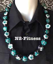 Hawaii Wedding Hibiscus Kukui Nut Lei Graduation Luau Necklace TEAL WHITE