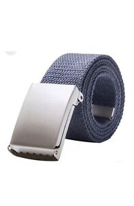 New Mens Womens Unisex Cotton Canvas Fabric Webbing Silver Buckle Belt Army UK