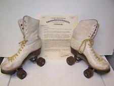 Vintage Chicago Ware Bros Roller Skates Ankle High sz 6 1/2 white Hyde