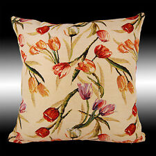 FRENCH COLORUL LILY FLOWERS TAPESTRY DECO CUSHION COVER THROW PILLOW CASE 17""
