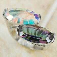 SIZE 11 New 9x17m Rainbow Topaz(lab) Lady's Lady Sterling Silver Fill Ring