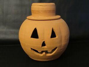 "Red Clay Jack O Lantern Pumpkin, Handmade in GA ""The Punk"" Craven's Pottery 10.5"