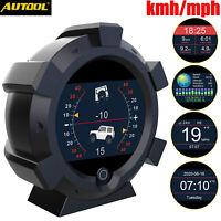 Autool GPS Inclinometer Angle Tilt Slope Meter Indicator Level Gauge Speed Alarm