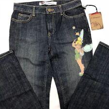 Disney Tinker Bell Blue Jeans Women's Size 4 Straight Leg Stretch New Embellish