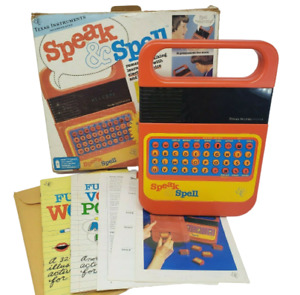 VINTAGE 1980 SPEAK & SPELL TEXAS INSTRUMENTS TESTED / WORKS EDUCATIONAL TOY BOX