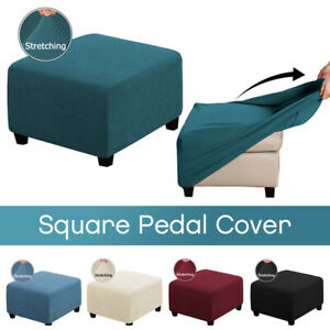 Square Ottoman Slipcovers Stretch Elastic Pouffe Footstool Sofa Protect Covers