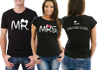 Custom MR and MRS His and Her couple matching T-shirts set with mouse ears