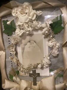 Antique Victorian Mourning shadowbox deceased baby