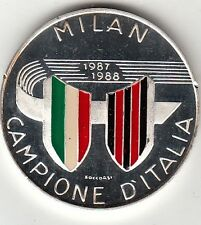 MEDAGLIA SMALTATA ARGENTO DI ZECCA MILAN 1987 - 1988 CAMPIONE D'ITALIA  OF ITALY