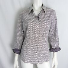 Foxcroft Wrinkle Free Fitted Blouse 12 Black White Geometric Cotton Top Shirt