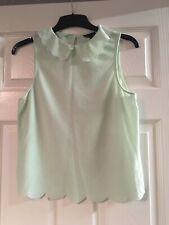 Topshop Peterpan Collar Sleeveless Scalloped Mint Green Top Size 8