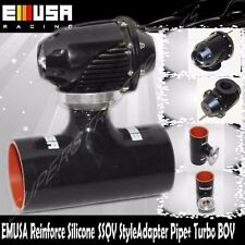 """EMUSA BLACK 2.5"""" Reinforce Silicone Adapter SSQV Style Pipe+Turbo BOV for Civic"""
