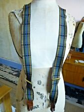 Stunning Vintage Style Braces Tartan w Fringed Leather End  - Y Back