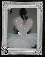 """Hazel Bowman """"Angel Wings"""" Glitter, Shabby chic frame Canvas Picture. Free P&P."""