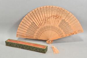 h15c38- Fächer aus Holz Asiatika mit Originaletui
