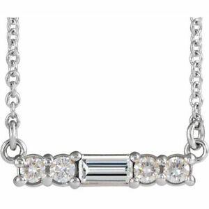 """Diamond Bar 18"""" Necklace In Platinum (1/5 CTW)"""