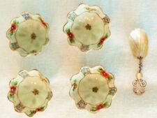 4-NIPPON HAND PAINTED GOLD ACCENT SMALL FLUTED BOWLS WITH MOTHER OF PEARL SPOON