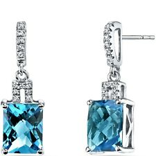 14K White Gold Swiss Blue Topaz Earrings Radiant Checkerboard Cut 5.00 ct