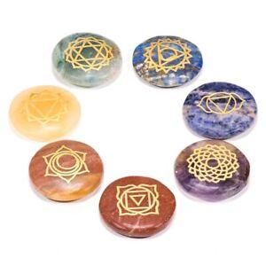Pietre dure tonde piatte con simboli chakra SET 7 -- 3.5 cm