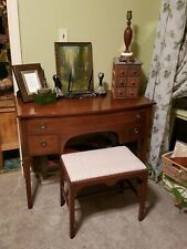 Vintage Trutype Solid Mahogany Hepplewhite Style Kneehole Desk & Stool
