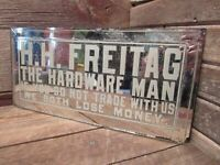 "Vintage RARE  H.H. FREITAG ""THE HARDWARE MAN"" Mirror Glass Sign"