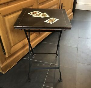 Vintage Folding Card Table Hand Painted Metal Games Table