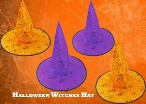 New 4x Halloween Witches PARTY HAT ORANGE/PURPLE 33cm Spider & Cobweb Cute Gift