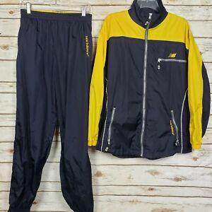New Balance Blue Yellow Colorblock Windbreaker Jacket Joggers Pants Tracksuit L