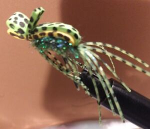 2021 (((WeedLess))) Bass Gurgler Frog, Yellow/Green-Peacock,Size 1/0, Sold Per 4