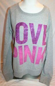 I Only Sleep in PINK Victoria's Secret Grey Gray Sweatshirt Fuchsia Glitter (M)