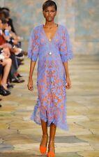 $1,795 TORY BURCH RUNWAY Michaella Guipure Embroidered Crochet Dress - Sz 0