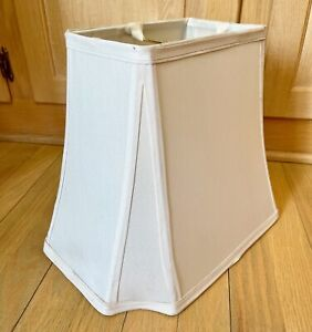 """Vintage Tapered Lampshade Ivory Cream White Fabric Octogon Rectangle 14""""X10"""""""