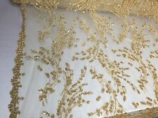 Gold Flowers Embroider And Beaded On A mesh Lace. Wedding/Bridal/Prom Fabric