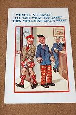 Vintage Postcard: Scottish Humour, Pub, Public Bar, I'll Take What You Take,
