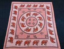 ROYAL INDIAN ELEPHANT TAPESTRY BED SHEET BED SPREAD WALLHANGING QUEEN PINK