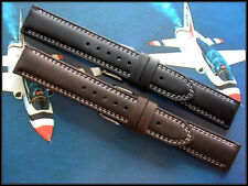 20mm Black Brown Pilot Distressed Suede bomber watchband Aviator strap IW SUISSE