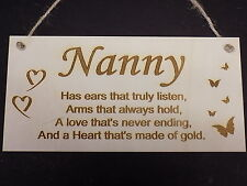 Nanny Love Sign Wooden Plaque Birthday Gift Present Heart Rustic family heart