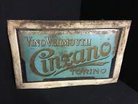 Vino Vermouth Cinzano Torino - Goffrata Targa di Latta - 31,5 X 50 CM - I Del