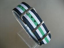 Nato Band Durchzugsband Textil blau weiß grün Dornschließe 20 mm