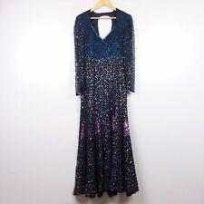 Vintage Sequins Originals 100% Silk Long Sleeve Multicolor Maxi Dress