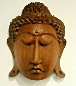 Buddha Wall Mask Plaque Hanging Genuine Wood Carving 20cms Gift Idea CLEARANCE