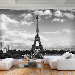 Paris VLIES FOTOTAPETE Eiffelturm TAPETE WANDBILDER XXL Stadt Schwarz Wohnzimmer