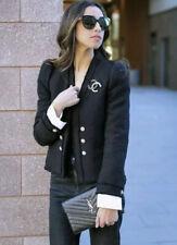 Zara Tweed Jacket With Poplin Black Gem Buttons 7950/795 XL