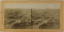 Paris Panorama avec les sept ponts France Photo Stereo Vintage Albumine