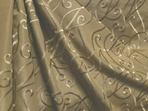 6 YDS KRAVET EPIPHANY PUTTY MODERN SCROLL EMBROIDERED FAUX SILK DRAPERY FABRIC