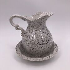 New ListingFlambro Countryside White Gray Speckled Water Pitcher w Basin Plate Decorative